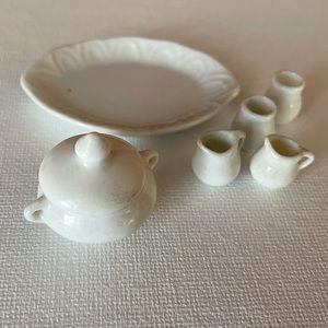 Miniature white porcelain serving dishes dollhouse